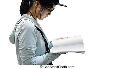 jeune femme, livre lecture, isolé, blanc, fond