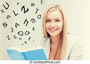 jeune femme, livre lecture