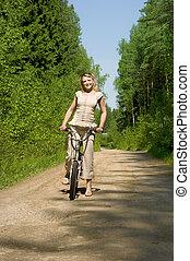 jeune, femme, monte vélo, dans, nature