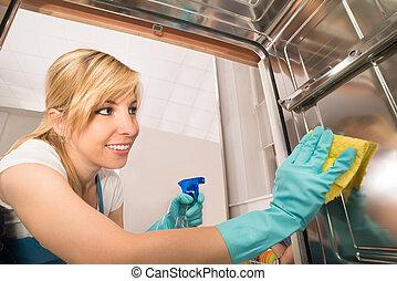 lave vaisselle femme nettoyage cuisine lave vaisselle photographie de stock rechercher. Black Bedroom Furniture Sets. Home Design Ideas
