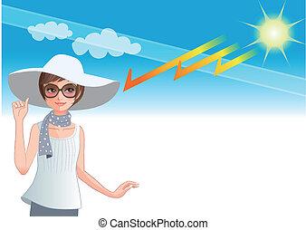 jeune femme, porter, a, large, brimmed chapeau, protéger, depuis, lumière soleil, obtenir, bien, les, couche ozone
