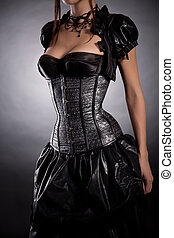 jeune femme, porter, argent, corset, à, étoiles