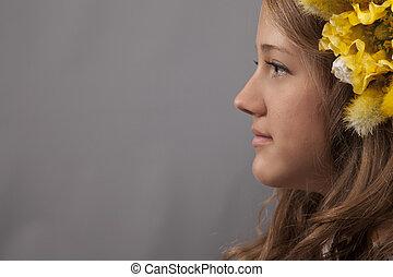 jeune femme, profil