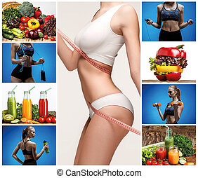 jeune, femme saine, à, vegetables., collage