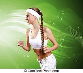 jeune, femme saine, faire, sport