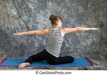 revêtement diffusé accroupi natte yoga guirlande gris