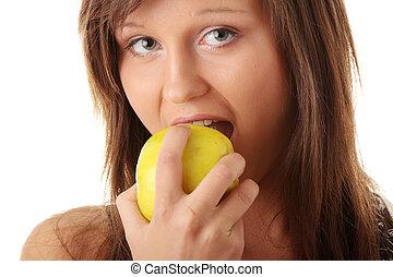 jeune femme, tenir pomme