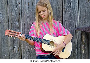 jeune fille, à, guitare