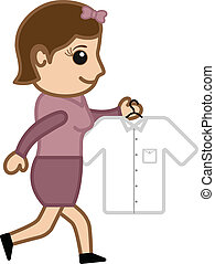 jeune fille, aller, à, fer, a, chemise