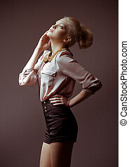 jeune fille, dans, mode, vêtements