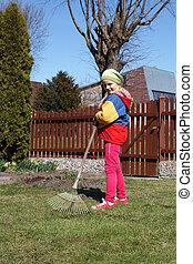 jeune fille, fonctionnement, dans, les, garden.