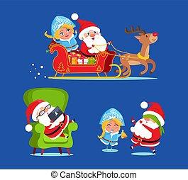 jeune fille, icônes, neige, illustration, vecteur, santa
