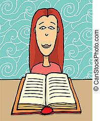 jeune fille, lecture livre