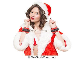 jeune fille, neige, écouteurs, isolé, sexe, fond,  Santa,  sexy, blanc, jeux,  girl