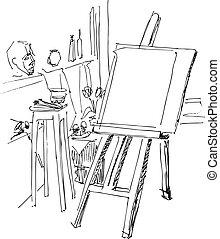 jeune fille, peinture