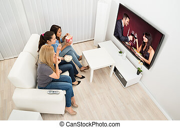 jeune, film, femmes, trois, regarder