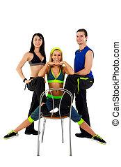 jeune, fitness, instructeurs, contre, fond blanc