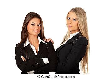 jeune, fonctionnement, femmes affaires, ensemble, deux