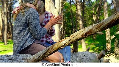 jeune, forêt, baisers, autre, 4k, couple, romantique, chaque