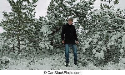 jeune, forêt, chant, hiver, artiste