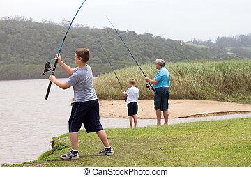 jeune, garçon adolescent, coulage, a, canne pêche