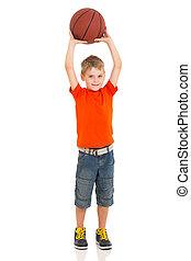 jeune garçon, basketball jouant