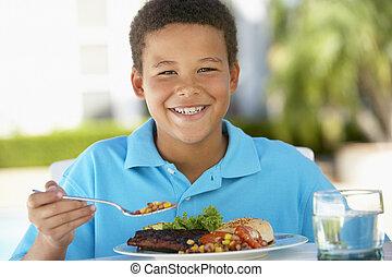 jeune garçon, dînant fresque al