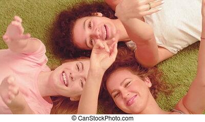 jeune, gratuite, concept., filles, avoir, temps, dépenser, ...