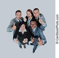 jeune, groupe gens affaires, projection, pouces haut, signes, dans, joy.