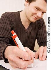 jeune homme, écriture