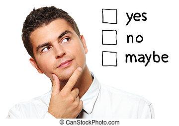 jeune, homme affaires, essayer, faire, a, décision