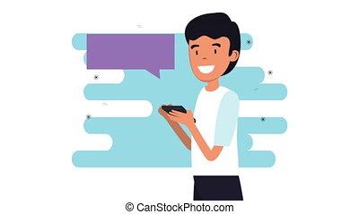 jeune, homme affaires, smartphone, animation, bavarder