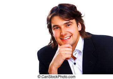 jeune, homme affaires, sur, a, bureau, isolé, blanc