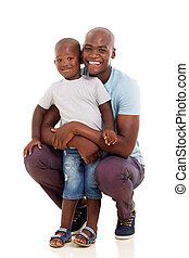 jeune, homme africain, à, sien, petit garçon