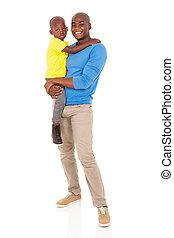 jeune, homme africain, porter, sien, fils