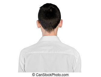jeune homme, arrière affichage