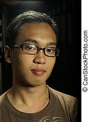 jeune, homme asiatique, portrait