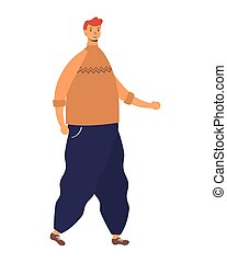 jeune homme, avatar, marche, caractère
