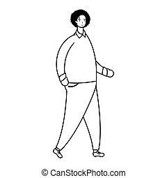 jeune homme, avatar, style, mâle, ligne, marche, caractère
