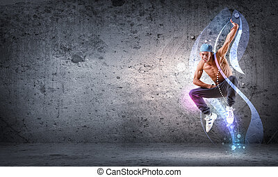 jeune homme, danse, bond branché, à, couleur, lignes