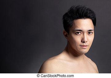 jeune homme, figure, séduisant, asiatique, closeup