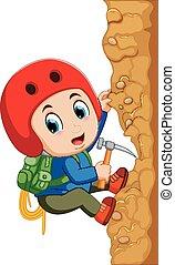 jeune homme, grimpeur, rocher
