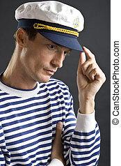 jeune, homme marin, à, blanc, chapeau marin