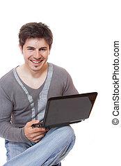 jeune homme, portable utilisation