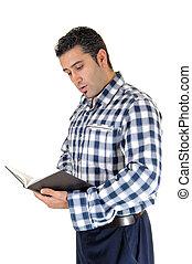 jeune homme, reading.