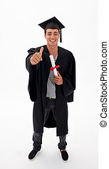 jeune homme, recevoir diplôme, à, pouce haut