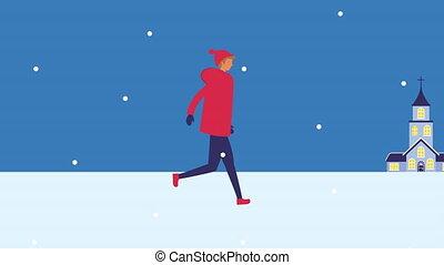 jeune homme, snowscape, marche