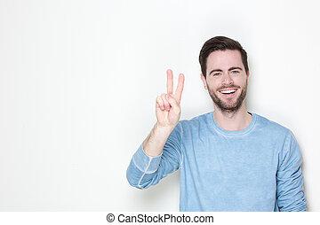Homme qui flirt signe