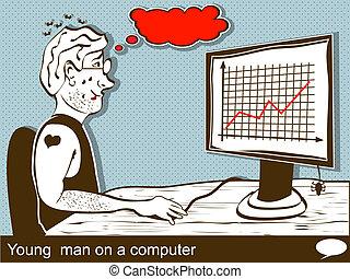 jeune homme, sur, a, informatique