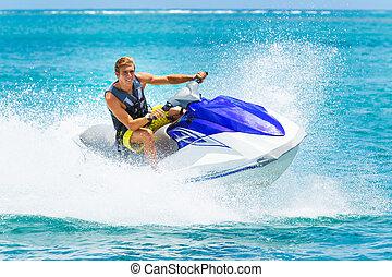 jeune homme, sur, jet-ski